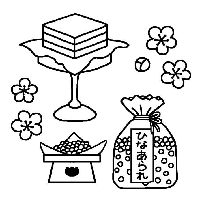 雛あられと菱餅白黒ひな祭りの無料イラスト春の行事季節素材