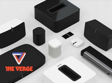 Sonos speaker layout shot with The Verge logo