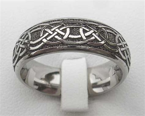 Mens Modern Titanium Celtic Wedding Ring   LOVE2HAVE UK!