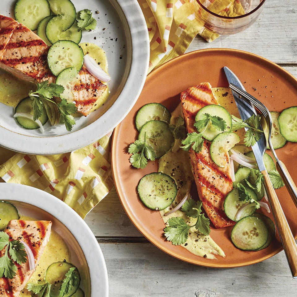 Salmon with Curried Yogurt & Cucumber Salad