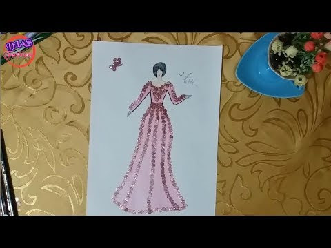 How to draw a wonderful dress
