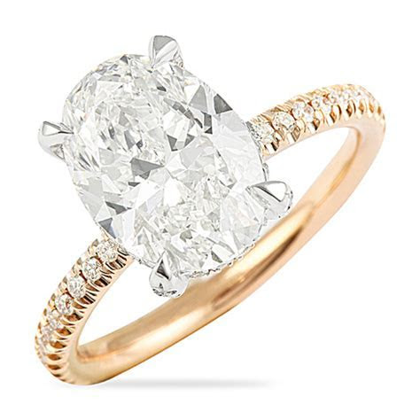 3.00 CT OVAL DIAMOND TWO TONE ENGAGEMENT RING