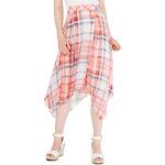 Tommy Hilfiger Womens Plaid Handkerchief Hem Maxi Skirt White