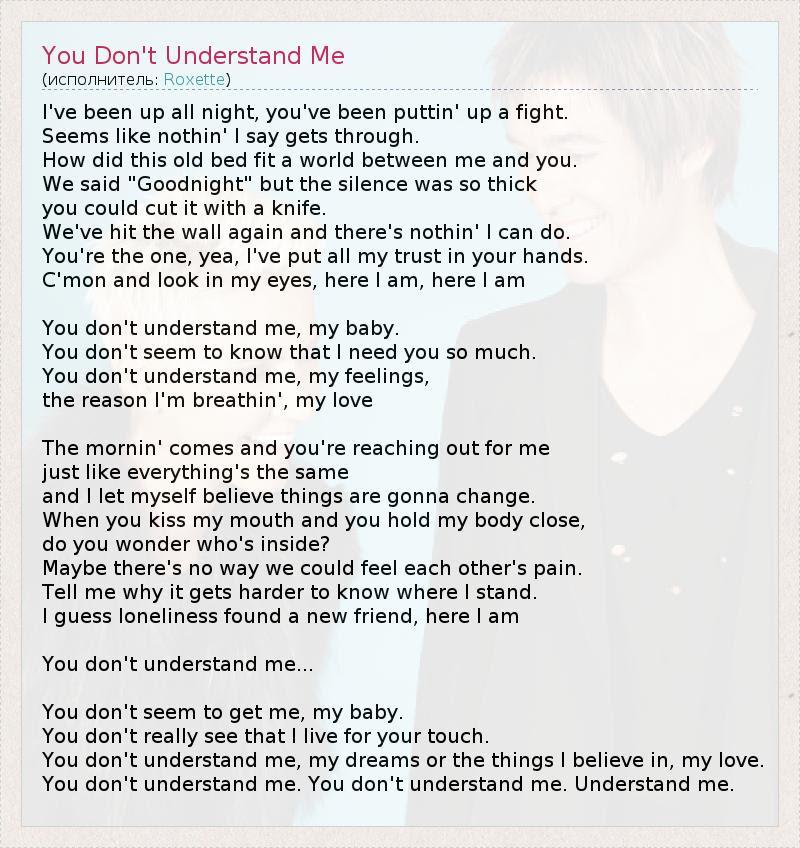 текст песни You Dont Understand Me слова песни
