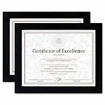Dax Document/Certificate Frames, Wood, 8-1/2 x 11, Black, Set of Two (DAXN15832)