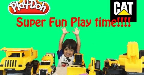 Ryan plays with Play doh Construction Vehicles for Children