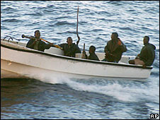 File photo of assailants who attacked a cruise ship off the coast of Somalia in 2005