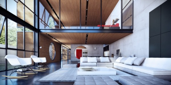 lofted living room