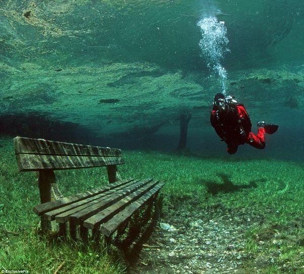 bangku taman yang tenggelam (sumber: dailymail.co.uk)