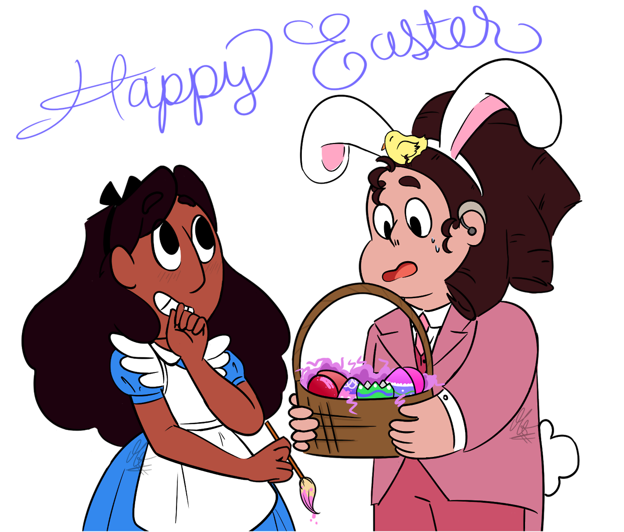 ☆Happy Easter☆ Just a fun little piece I wanted to throw together for everyone (And myself) to enjoy!! Fun Fact: This is the first outfit to fully cover Connie's gem… and or her hand is mostly in the...