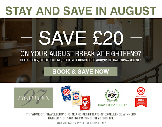 Book direct at Eighteen97 B&B for best rates this August
