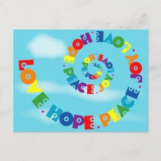Love Hope Peace Joy Postcard postcard