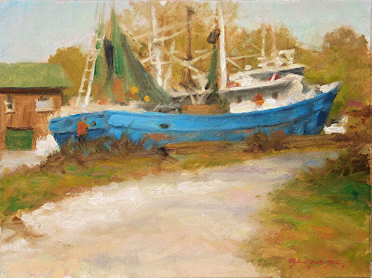 Darien Boat (2015) Oil painting by Richard  Nelson