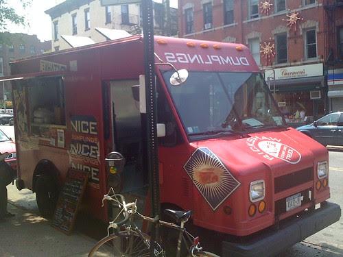 The Rickshaw Nice Dumplings van is in Park Slope, hoorah!