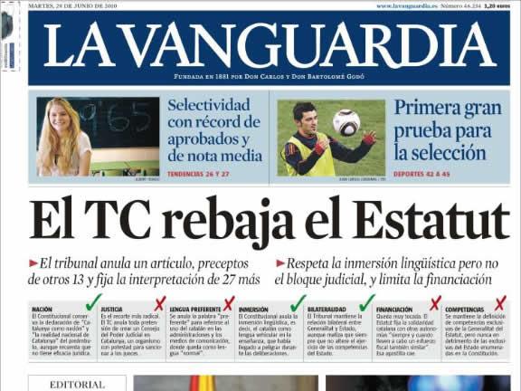 """A """"La Vanguardia"""" parlen de rebaixes, articles anul·lats i reinterpretats. (Font: kiosko.net)"""