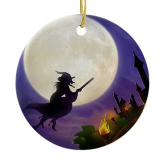 Halloween Witch Full Moon Christmas Tree Ornaments