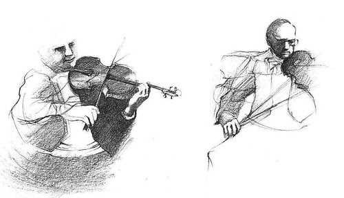 old sketches of violinists by dibujandoarte