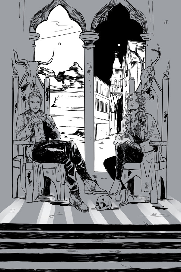 cassandraclare:  Cassandra JP has kindly been doing another set of postcards for City of Heavenly Fire the way she did for Clockwork Princess.  Most are in color but this one of Sebastian and Clary is in grays. The windows behind them both look onto different scenes, but they are in the same room.  I draw things! Secret things!