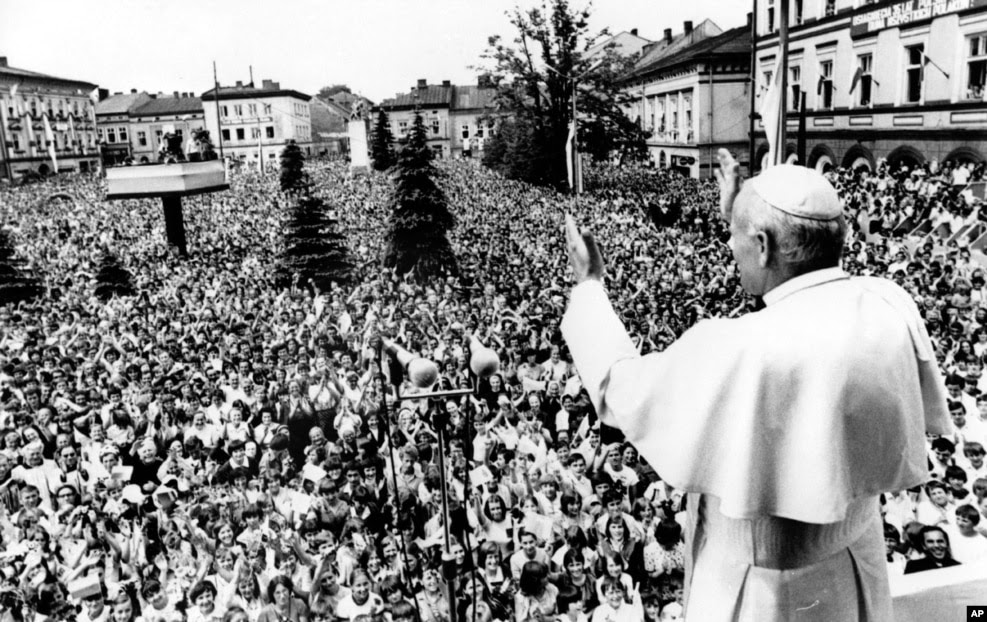 "June 1979: Pope John Paul II tours his native Poland, drawing the biggest crowds in the country's history. He avoids directly criticizing the country's communist rulers, but his carefully worded speeches on the ""inalienable"" rights of people help reawaken the spirit of resistance in Poland. Months later, Solidarity, a trade union with strongly anti-Soviet leadership, is founded in Gdansk and within a year has nearly 10 million members."