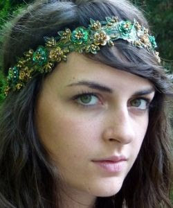 Emerald Green Satin Bohemian Headband