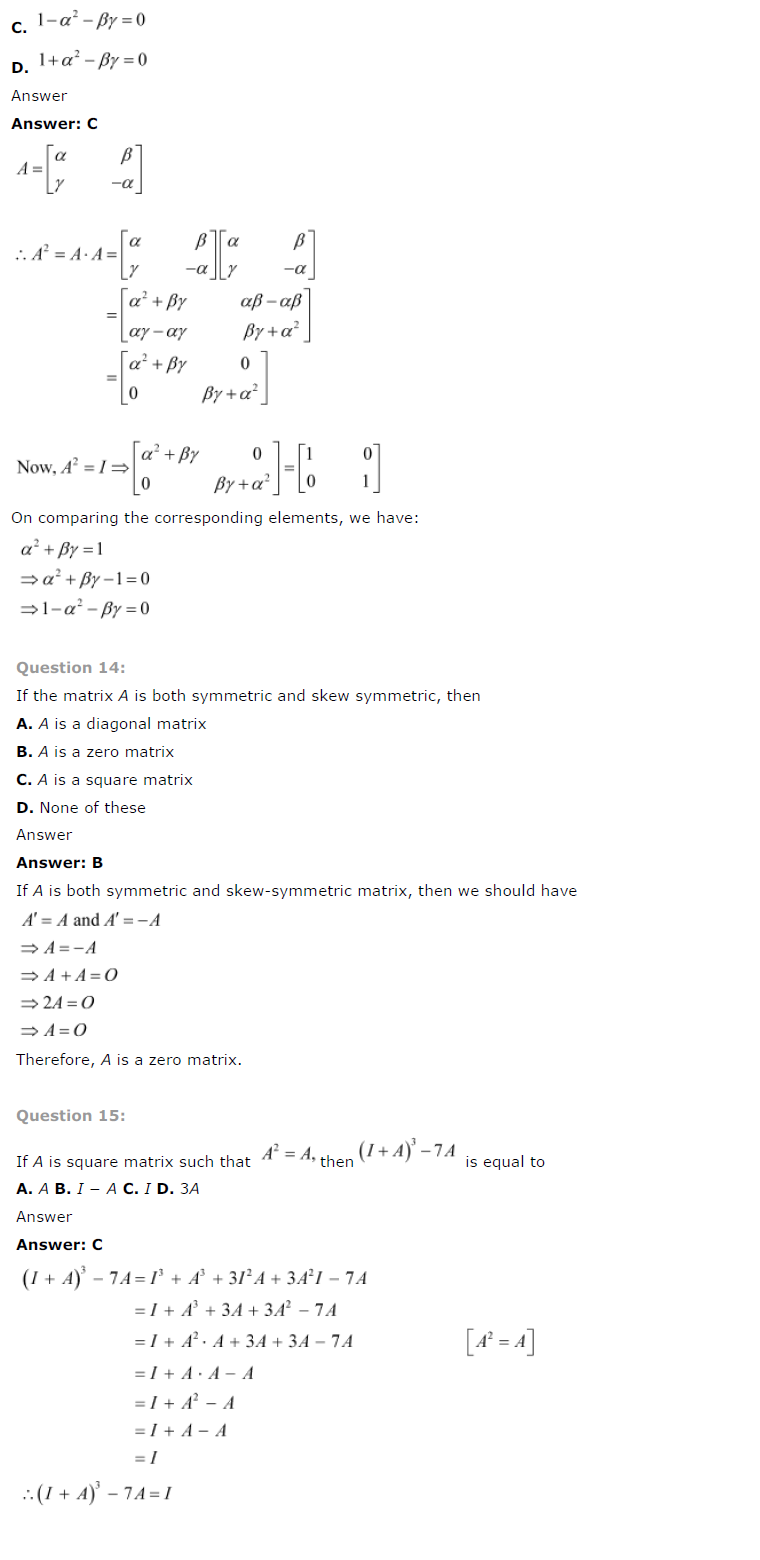 NCERT Solutions for Class 12 Maths Chapter 3 Matrices ex 3.14