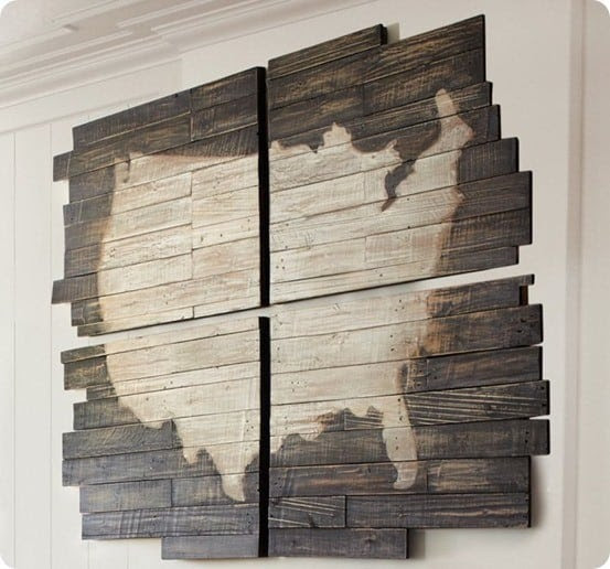 Planked Wood United States Wall Map