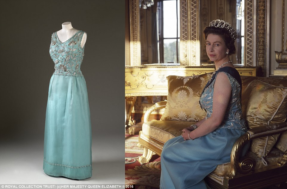The Queen first wore this turquoise dress in 1965 when she became the first British head of state to visit Germany after World War II