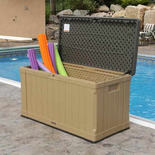 Lifetime Heavy Duty Outdoor Storage Deck Box Beige Google Express