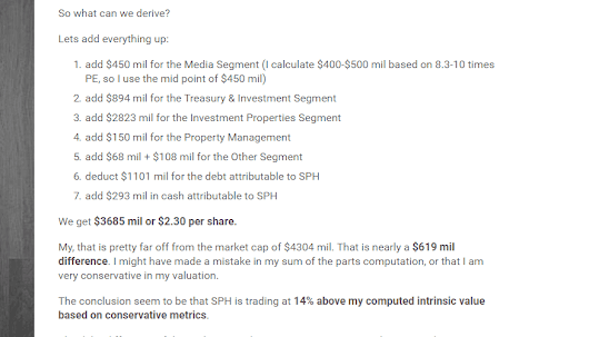 Some Amendments to my SPH Sum of the Parts Valuation