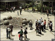 People wait outside during LA earthquake