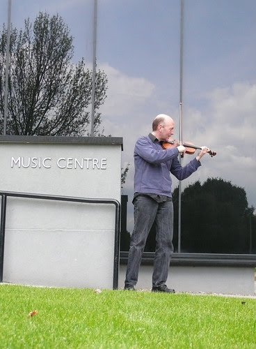 44th of 2nd 365: Me playing the violin outside the Churchill College Music Centre at the University of Cambridge