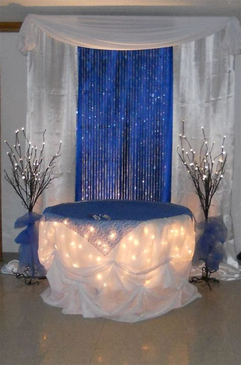 Fabulous Wedding Decoration With Navy Blue Curtain And