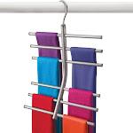Lynk Hanging Tiered Scarf Holder Closet Hanger Organizer Rack Platinum