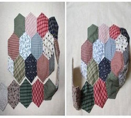 Tutorial Membuat Tas Patchwork Hexagon dari Kain Perca atau Baju Bekas 2