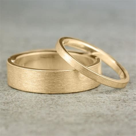Eco Friendly Wedding Band Set, Brushed Matte 14k Yellow