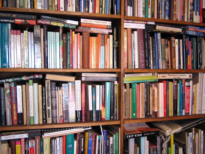 the overcrowded bookcase