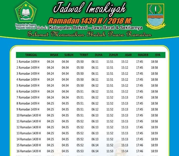 Download Jadwal Imsakiyah 2018 - Dunia Sekolah ID