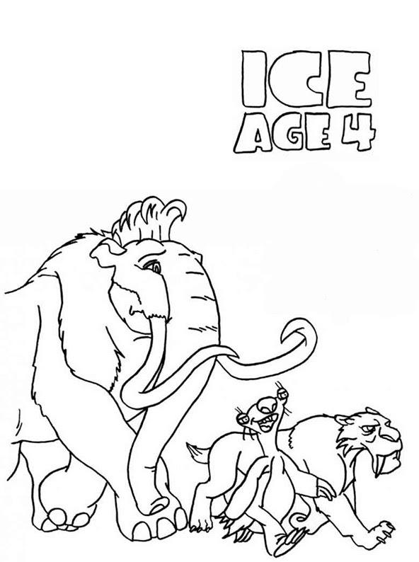 ausmalbilder malvorlagen ice age 4  voll verschoben