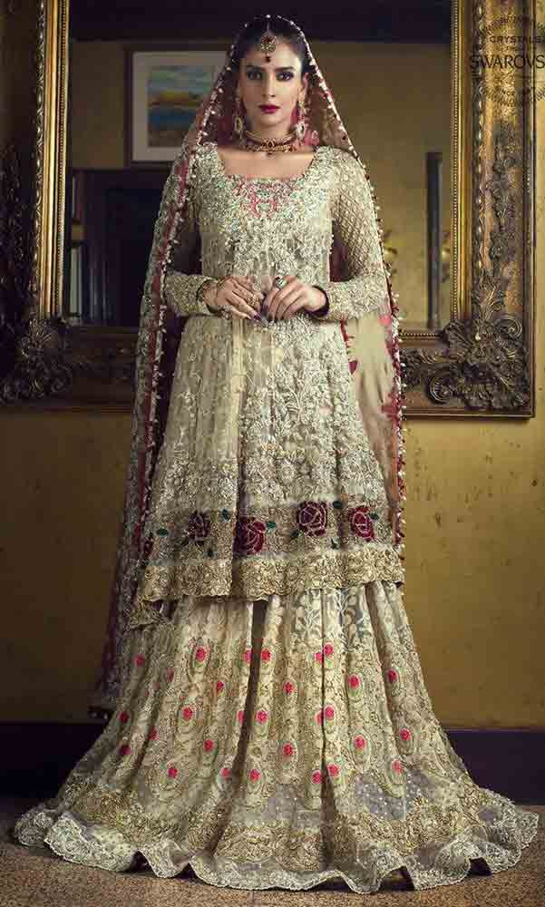 pakistani bridal dresses in red and gold colors 2019