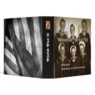 "Customized WWII 1.5"" Navy Veteran Photo Album 3 Ring Binder"