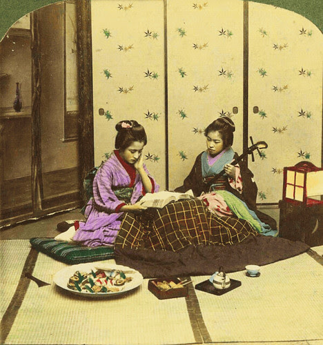 (animated stereo) Geisha playing music, 1898 by Thiophene_Guy