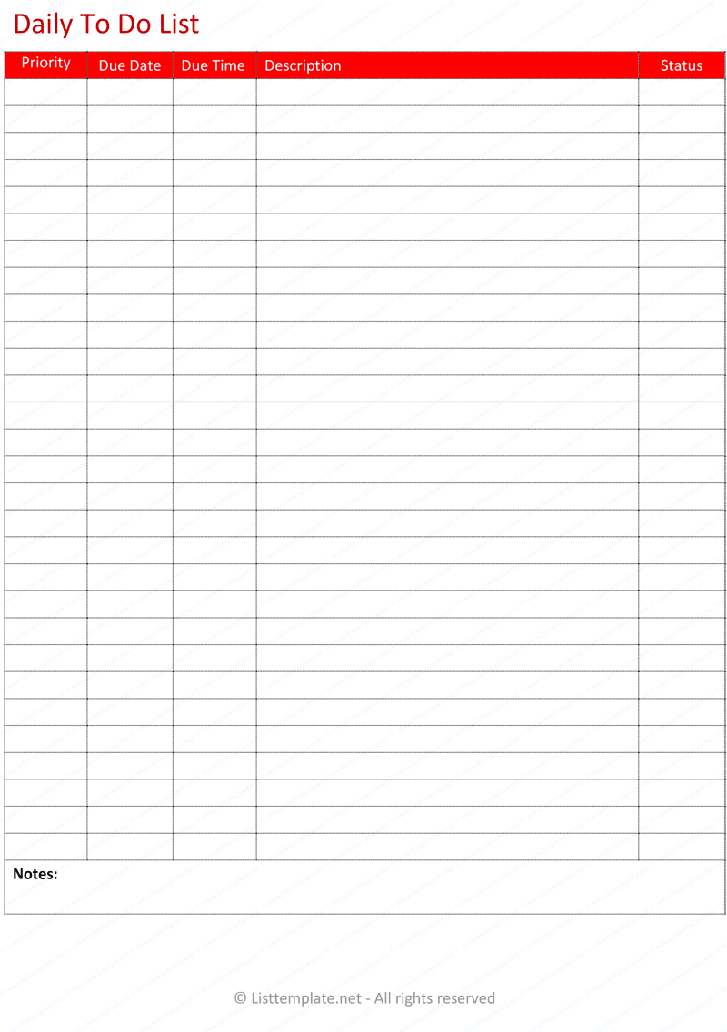 Daily to do list template - List Templates