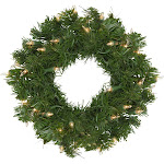 Pre-Lit Deluxe Windsor Pine Artificial Christmas Wreath - 12-Inch, Clear Lights by Christmas Central