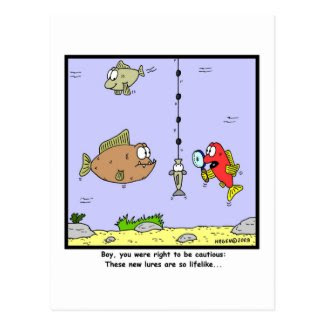 Fishing Cartoon: Lures Postcard