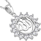 """925 Sterling Silver White Clear CZ Muslim Arabic Allah Pendant Necklace, 18"""""""