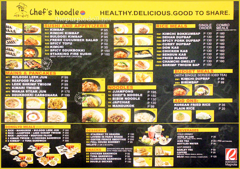 Chef's Noodle Robinsons Magnolia Menu