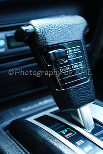 gear shifter on a sports car