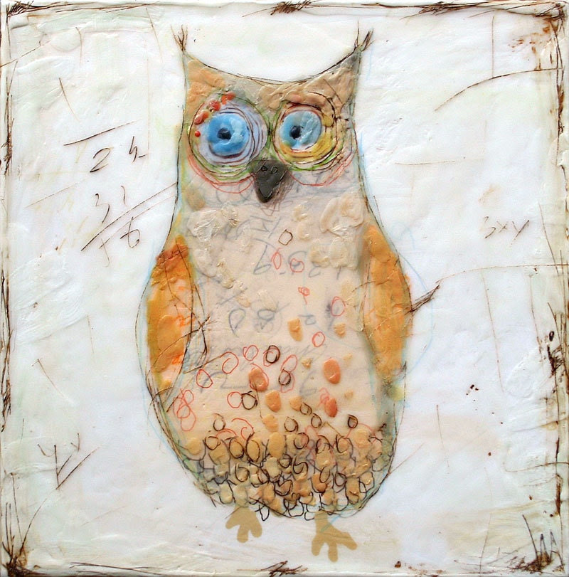 The pale owl - mixed media encaustic original - BrightDay