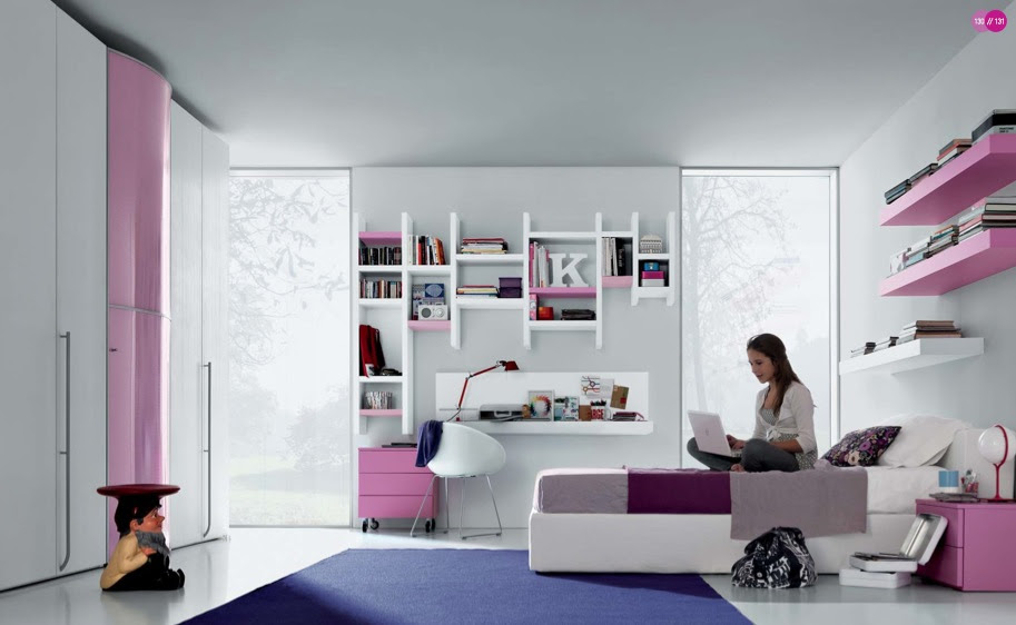 Red White Blue Teen Room with Entertaining Space and Youth-Great ...