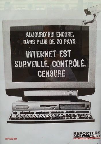 Affiche Reporters Sans Frontières sur le  filtrage de l'Internet